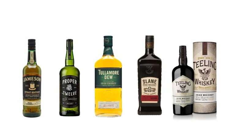 Irish Whiskey Line up Proper Twelve Tullamore DEW Slane Irish Whiskey Teeling Proper Twelve Writers Tears